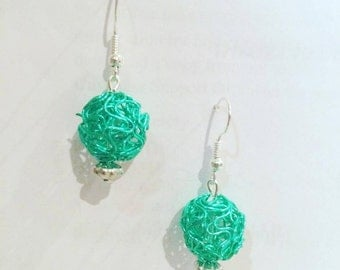 Green Filigree Wire Earrings