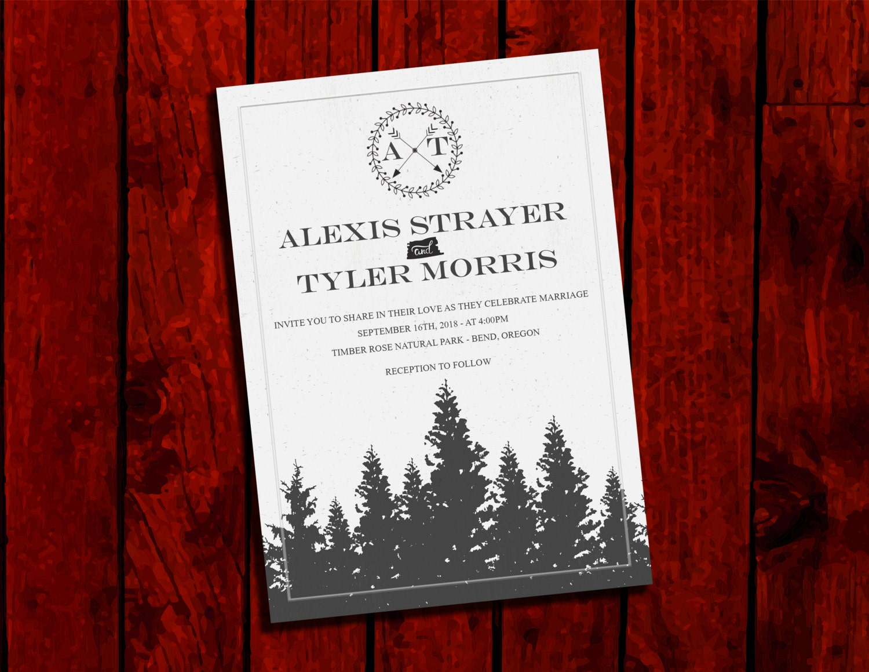 Vintage Forest: Wedding Invitation Suite; Print at Home Wedding ...