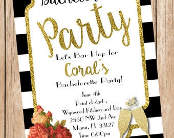 Striped Floral Bachelorette Party Printable Invitation