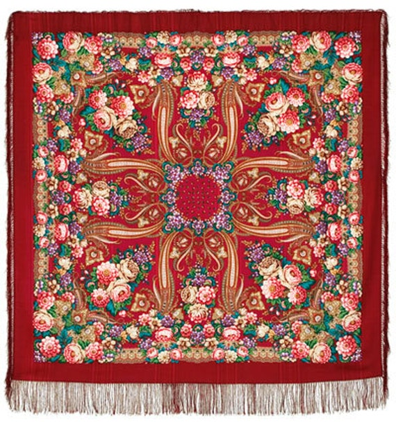 """Scarf woolen with a silk fringe """"Russian roses"""" 146x146 cm 57''x57'' / Wool floral pavlovo posad shawl"""