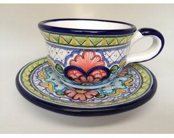Talavera Cup and Plate - Tea Set