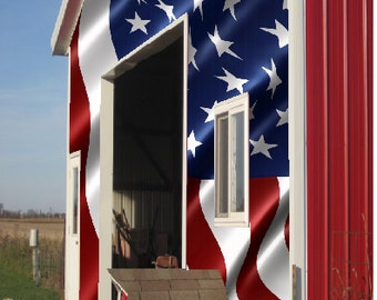 Barn American Flag LAMINATED Cornhole Wrap Bag Toss Decal Baggo Skin Sticker Wraps