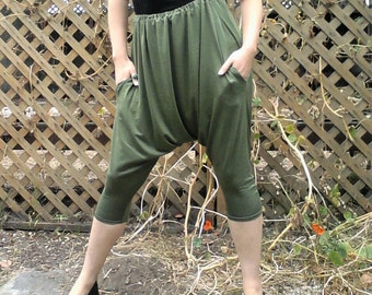 Skinny Harem Pant with Pockets in Olive Jersey