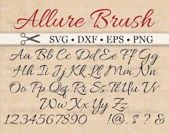 ALLURE BRUSH SCRIPT, Cursive Font Svg, Dxf, Eps, Png;  Digital Cut Files, Monogram Svg, Fancy Script, Wedding Font Svg,Silhouette & Cricut