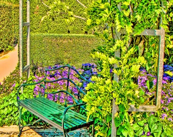 Photography France Monet,  landscapes,home decor,  France and Giverny,Garden bench, Once upon a Bench - Monet's Garden