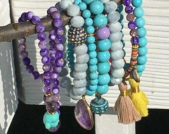 White Bracelet, Crystal Bracelet, Pave CZ Bracelet, White Crystal Silver Smoke Opaque Bead Bracelet with Pave CZ Ball, Boho Bracelet