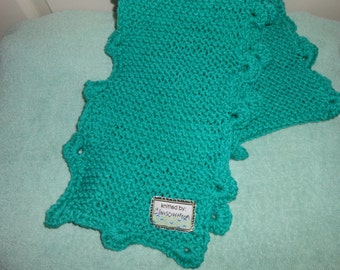 Teal paradise knitted scarf