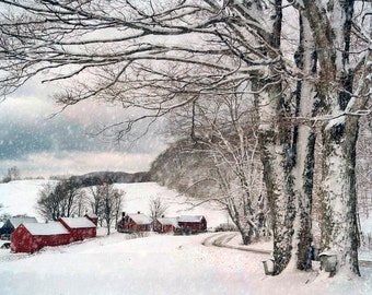 Snow Photo, New England Travel, Jenne Farm, Reading Vermont, Red Barns And House, Wall Decor