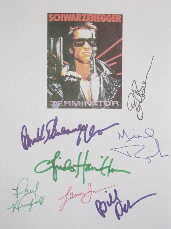 Terminator Signed Movie Film Screenplay Script X7 Arnold Schwarzenegger Bill Paxton Michael Biehn Linda Hamilton Paul Winfield Earl Boen