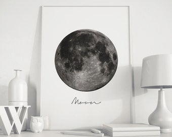 Moon Wall Art full moon wall art | etsy