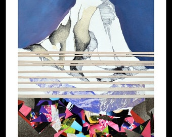 Mountain- Mix media collage Framed 40X50