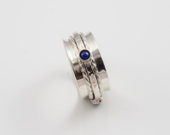 Hand Made Sterling Silver Spinning Ring set with Lapis Lazuli,Turquoise & Amethyst