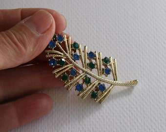Vintage Leaf Blue and Green Studded Brooch 1960s