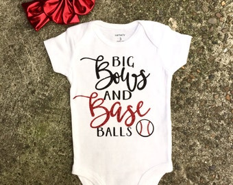 Big Bows and Baseballs onesie, baby girl baseball onesie, baby girl baseball outfit, baby girl baseball, baby girl baseball fashion