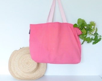 Pink beach bag - bag in linen and cotton - pink bag - large bag for the summer - weekend bag - recycled fabric - old canvas