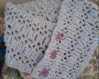 Crocheted Neck Warmer-Silver