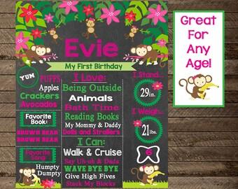 Girl's first birthday monkey chalkboard sign, monkey theme birthday, girl monkey birthday, monkey party decoration, second birthday, third