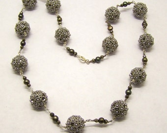 Handcrafted Pyrite Pearl Necklace