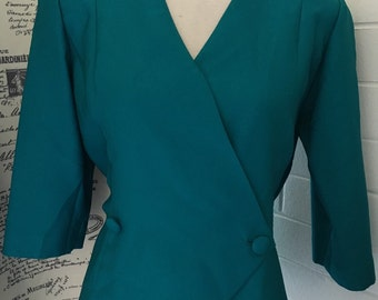 Teal + Size Retro Blouse