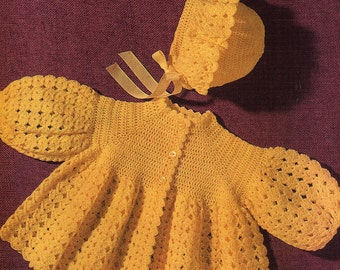 Baby Matinee Coat and Bonnet Crochet Pattern. PDF Instant Download.
