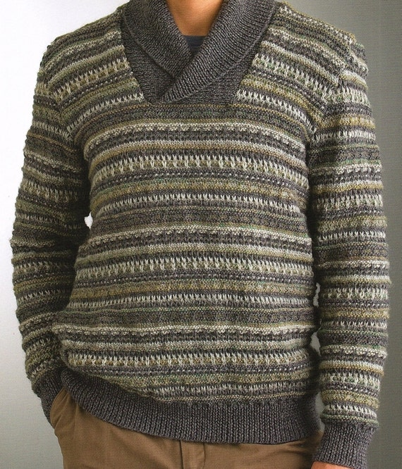 Mens Sweater With Slip Stitch And Shawl Collar Knitting