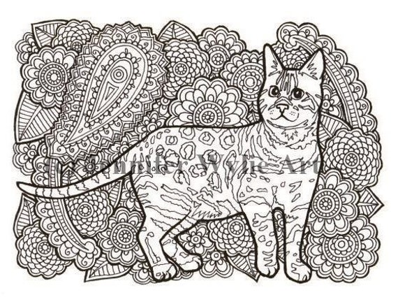 Bengal Cat Cat Adult Coloring Page Colouring Page