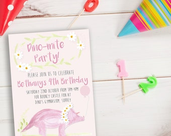Personalised dinosaur birthday invite, dinosaur party invite, dinosaur party, girls dinosaur invite