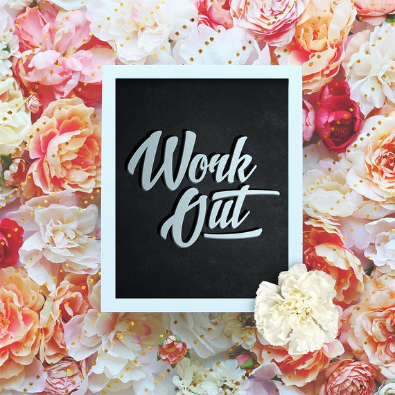 """Work Out - 8x10"""" Motivational Workout Printable Art, Typography, Exercise Poster - Wall Art, Gym Print, Exercise Print - Instant Download"""