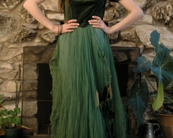 Emerald green tattered fairy dress with bow