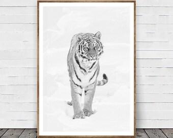 Tiger Print, Nursery Animal Wall Art, Tiger Wall Art, Black and White Decor, Safari African Animal Print, Nursery Printable, White Tiger