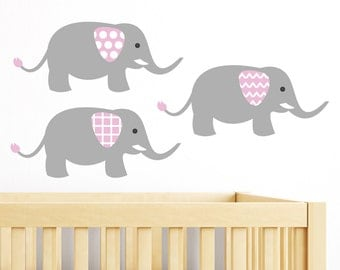 Elephant Stickers, Elephants Decal, Nursery Elephant Wall Decal, Elephant Kids Wall Decal,  Baby Wall Decal- Nursery Wall Decals