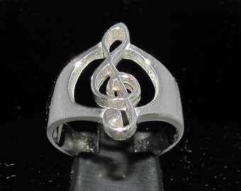 Sterling silver music symbol ring Clef note