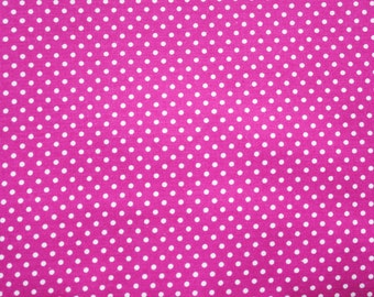 Polka dot Fabric, Cotton Fabric, Magenta, Small Dots, Basic Essential, Quilting Dressmaking Sewing Patchwork Supplies, Wide, Half Metre