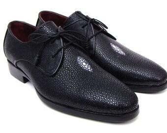 Men's Luxury Stingray Derby Shoes -  Full Black