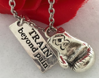 Train Beyond Pain Charm, Boxing Glove Charm, Fighter Charm Necklace, Kickboxing Jewelry, MMA Jewelry, Fighter Jewelry, Boxer Fighter Gifts