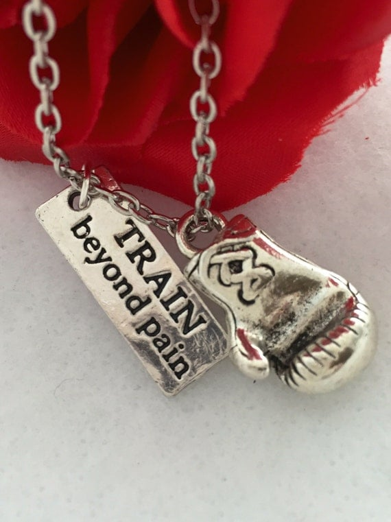 Boxer Charm Necklace, Boxing Glove Jewelry, MMA Kickboxing Jewelry, Train Beyond Pain Charm, Boxing Glove Charm, Fighter Boxer Fighter Gifts