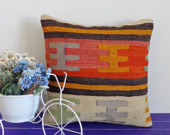 16x16 inch orange wool throw pillow vintage kilim pillow case - 059a