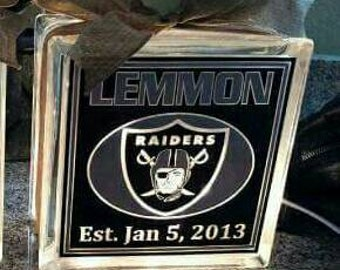 Personalized 8x8 Raiders lighted glass block