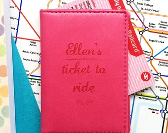 Ticket To Ride personalised travel card holder|oyster card|season ticket holder|railcard holder