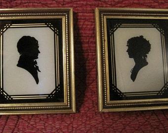 Elegant Silhouettes, Victorian Man & Woman, Vintage Silhouettes, 2 Small Silhouettes