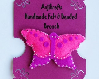 Butterfly brooch - pink & purple