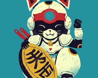 Lucky Pizza Cat samurai pizza cats T-shirt / speedy cerviche shirt / retro anime / lucky cat shirt maneki neko
