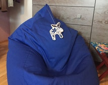 Bean bag, adult bean bag, blue, bright color, deer, moose, funny animal, natural, cotton cover, with liner, for living room, playroom, teens