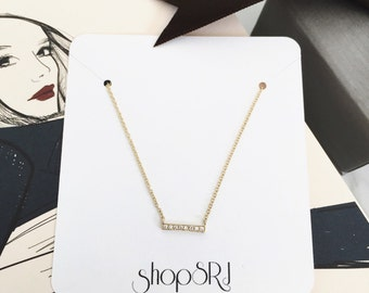14kt Yellow Gold or White Gold Diamond bar necklace