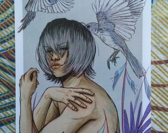 Flightless Birds series - Magpie - A6 Print
