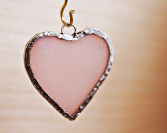 Antique Stained Glass Necklace Charm - Pale Pink