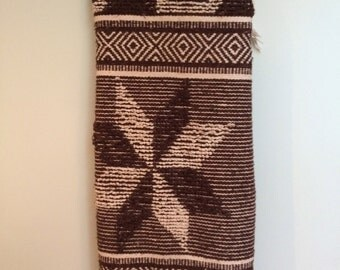 SALE / vintage southwestern style rug, well used and well loved, white and brown