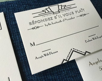 Art Deco Letterpress Wedding Invitation Suite | Vintage Twenties Inspired Event Stationery on Luxury Paper Stock