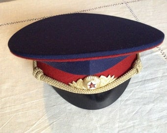 Red Army Cap. Uniform Cap of Officer of the Soviet Red Army.