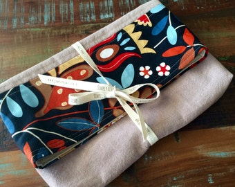 Fold Over Clutch made with Hemp Linen and Cotton